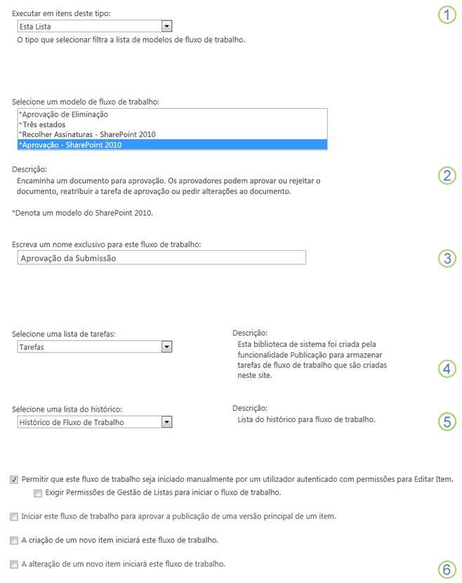 Informações básicas de 'Adicionar um fluxo de trabalho' com as secções realçadas