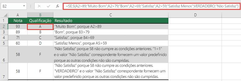 """Exemplo da função SE.S com Notas.  A fórmula na célula B2 é =SE.S(A2>89;""""Muito Bom"""";A2>79;""""Bom"""";A2>69;""""Satisfaz"""";A2>59;""""Satisfaz Menos"""";VERDADEIRO;""""Não Satisfaz"""")"""