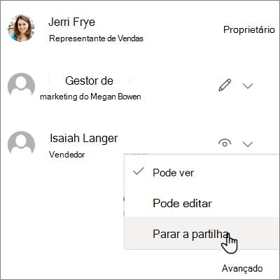 Screenshot de como parar de partilhar com uma pessoa no OneDrive para negócios