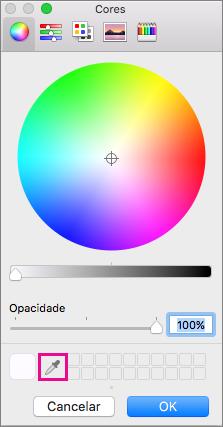 Ferramenta de selecionador de cores na caixa de cores