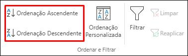 Botões Ordenação Ascendente ou Descendente do Excel no separador Dados