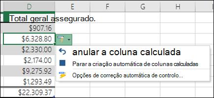 Opção para anular a uma coluna calculada depois de ter sido introduzida numa fórmula