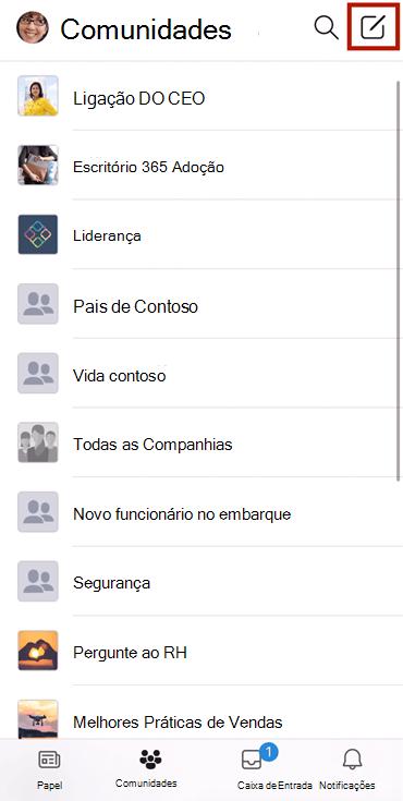 Screenshot mostrando compor uma conversa numa comunidade Yammer com a aplicação móvel