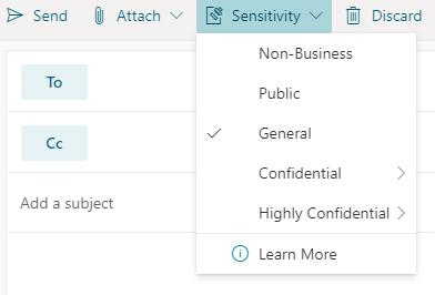 Botão de sensibilidade com opções de sensibilidade no Outlook para a Web