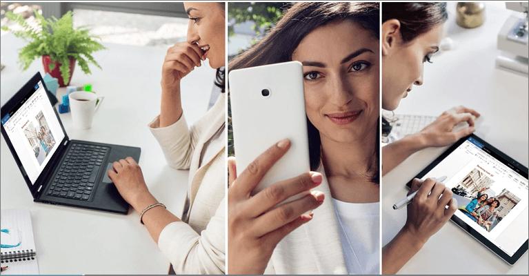 Mulher num portátil, telemóvel, tablet