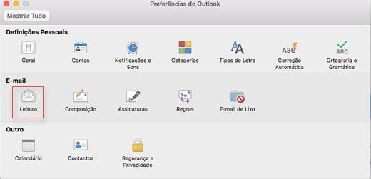 Mostrando preferências do Outlook com leitura escolhida