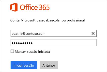Captura de ecrã do painel de início de sessão do Office 365