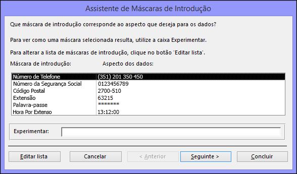 Assistente de Máscaras de Introdução na base de dados de ambiente de trabalho do Access
