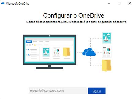 Ecrã de configuração do OneDrive