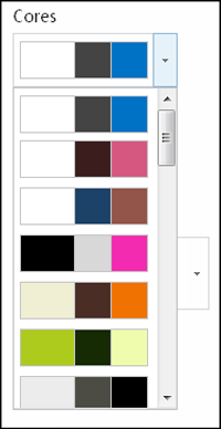 Captura de ecrã do menu de escolha das cores num site do SharePoint novo
