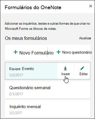 Lista de formulários no painel formulários para o OneNote online