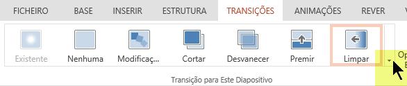 Para abrir todas as opções da galeria de Transições, clique na seta para baixo que se encontra na extremidade direita.