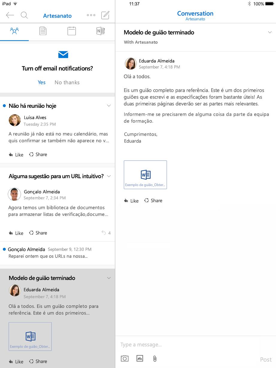 Vista de conversação em grupos do Outlook para iPad