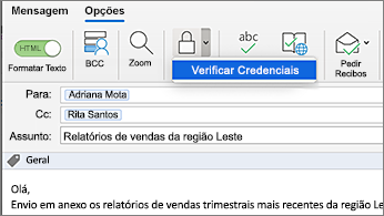Mensagem com o botão Encriptar selecionado