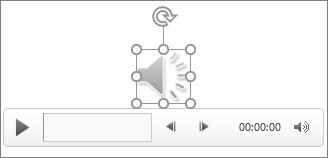 O ícone e os controlos de áudio