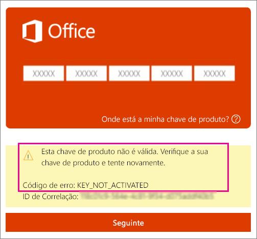 Código de erro KEY_NOT_ACTIVATED (chave de produto não ativada).