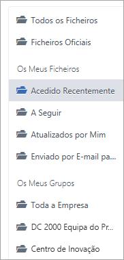 Lista que mostra localizações de ficheiros
