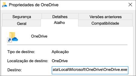 Uma captura de ecrã a mostrar o menu de propriedades da aplicação OneDrive.