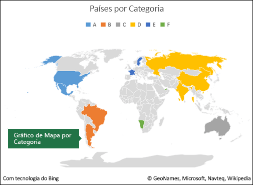 Gráfico de Mapa do Excel por Categoria