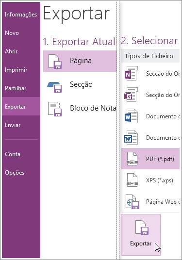 Pode exportar notas para outros formatos, como PDF, XPS ou documento do Word.