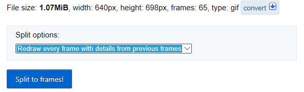 O GIF carregado e o botão Split to Frames (Dividir em Fotogramas)