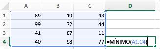 Exemplo a mostrar a utilização da função MÍNIMO