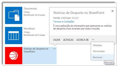 Captura de ecrã do comando remover no balão de propriedades de uma aplicação.