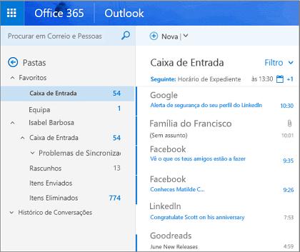 Vista principal do Outlook na Web