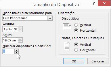 Mostra a caixa de diálogo Tamanho do Diapositivo no PowerPoint