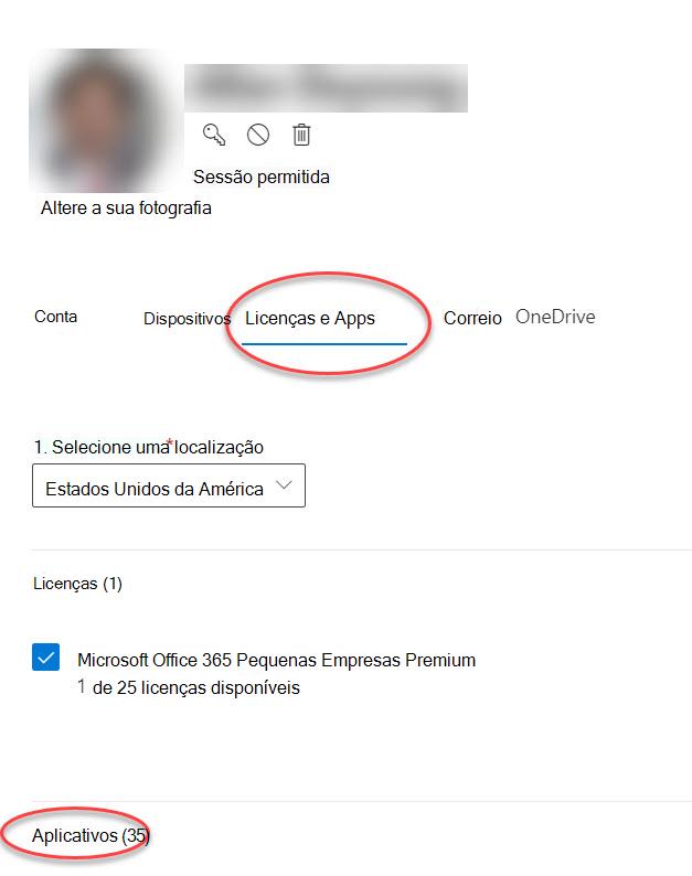 Formulário de opções de conta no Microsoft 365 Admin Center