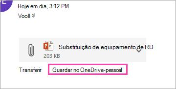 Captura de ecrã do botão OneDrive na guardar