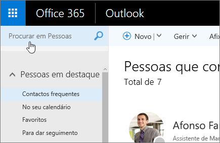 Captura de ecrã do ecrã Pessoas, com a caixa Procurar em Pessoas selecionada.