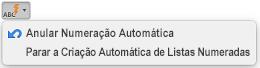 Botão Correção Automática com opções de numeração automática apresentadas
