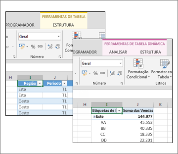 Ferramentas de Tabela e Ferramentas de Tabela Dinâmica