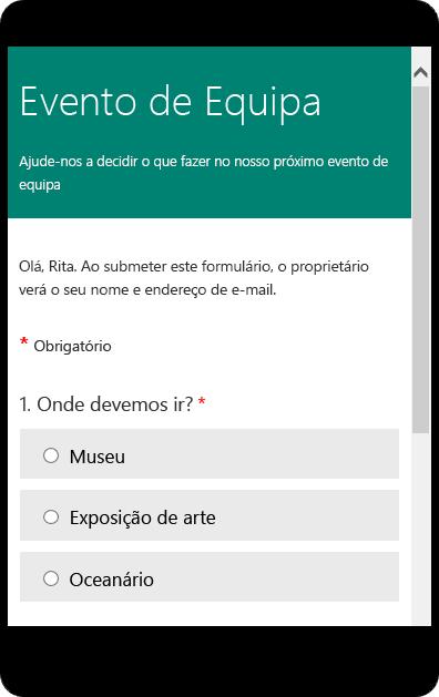 Pré-visualização de um formulário de inquérito de turma no modo para dispositivos móveis