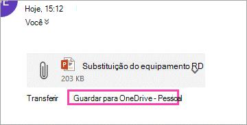 Faça o download do link para guardar um anexo ao OneDrive.