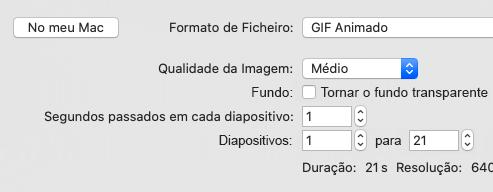 Mostra o intervalo de diapositivos para exportar