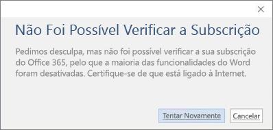 """Captura de ecrã a mostrar a mensagem de erro """"Não Foi Possível Verificar a Subscrição"""""""