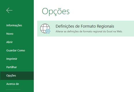 Botão de definições de formato regional no menu Opções de > de Ficheiros