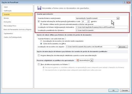 Configure as definições Recuperação Automática ou Gravação Automática