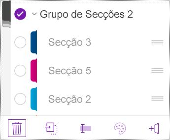 Eliminar um grupo de secções no OneNote para iOS