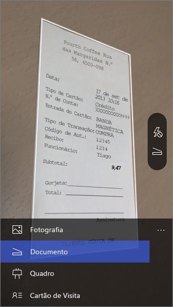 Quando o Office Lens iniciar, selecione o seu modo.