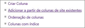 Grande plano de adicionar ligação de coluna existente na página de definições