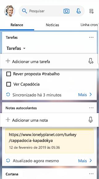 Captura de tela a mostrar o cartão de tarefas no feed do iniciador