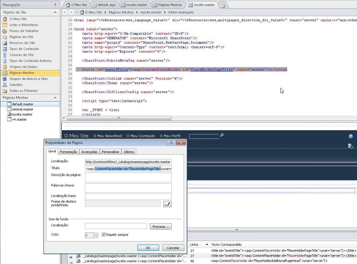 Ao abrir a página mestra O Meu Site, pode editar o ficheiro, assim como as suas propriedades.