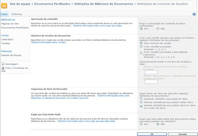 Página Definições de Controlo de Versão a mostrar opções de Aprovação
