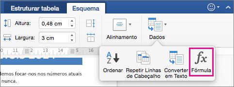 No separador Esquema, clique em Dados para ver o menu e clique em Fórmula.