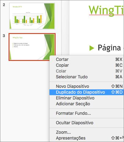 Captura de ecrã a mostrar um diapositivo selecionado e a opção Duplicar Diapositivo selecionada no menu de contexto.