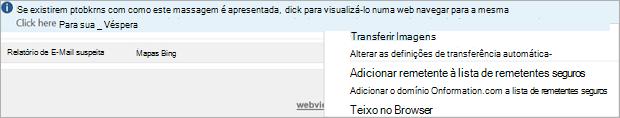 Sinalizadores e lembretes para destinatários são fornecidos na mensagem de barra de informações.
