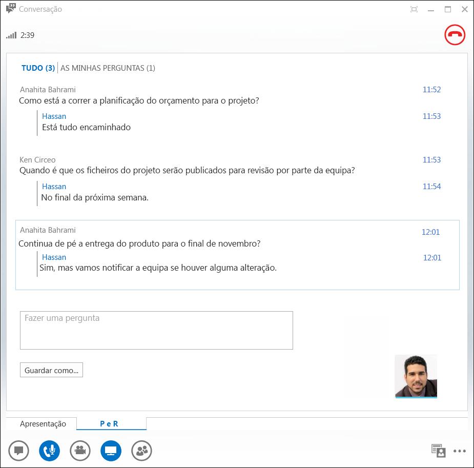 Captura de ecrã do Gestor de Perguntas e Respostas